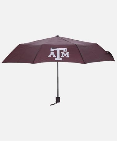 Texas A&M Aggie Mini Folding Umbrella Open Maroon