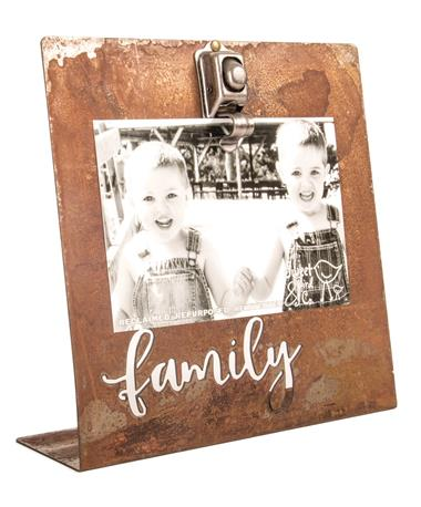 Rustic Metal Family Photo Easel Salt Bath
