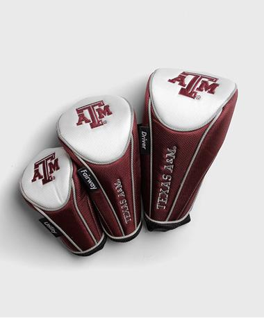 Texas A&M Aggie Golf Headcovers Set of 3 - Front Maroon