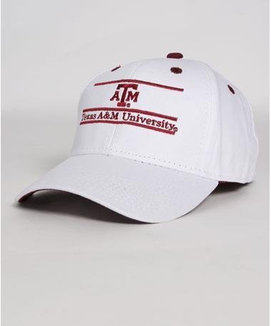 Texas A&M Aggie University Bar Cap Front White