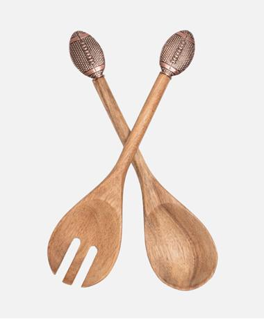 Football Wood Salad Servers Natural