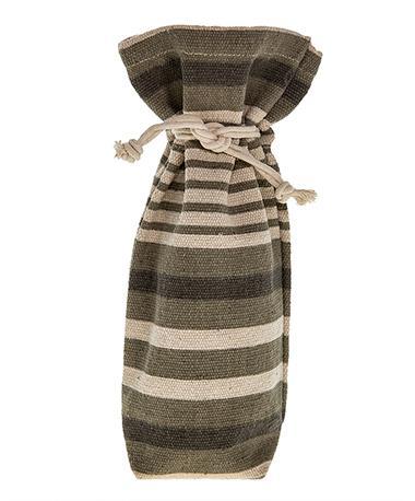 Striped Drawstring Wine Bag Natural/Grey