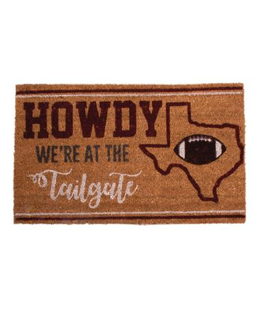 Howdy Tailgate Texas Coir Doormat Maroon/White