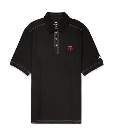 Texas A&M Tommy Bahama Emfielder Short Sleeve Polo - Black - Front Black