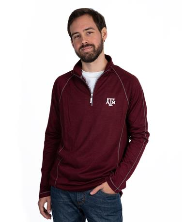 Texas A&M Tommy Bahama Half Zip Pullover - Front Maroon