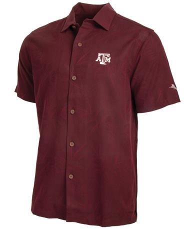 Texas A&M Tommy Bahama Luau Buttondown Front Maroon