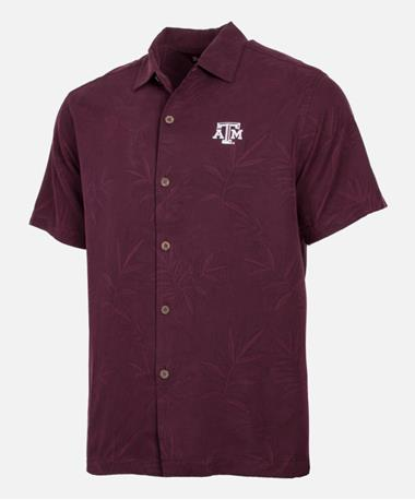 Tommy Bahama Texas A&M Luau Floral Button Down Shirt Front Maroon Berry