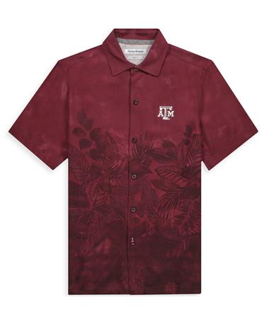 Texas A&M Tommy Bahama Floral Buttondown-Front Maroon