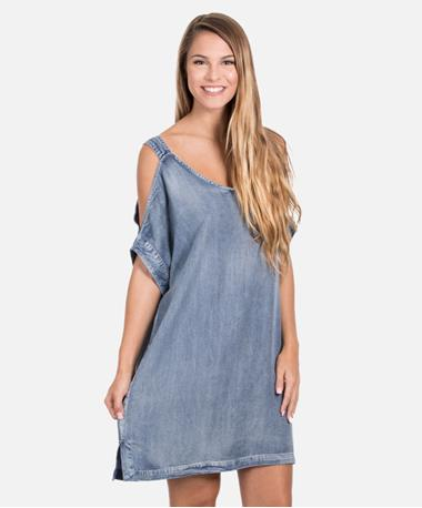 Denim Onna Cold Shoulder Dress - Front Malibu