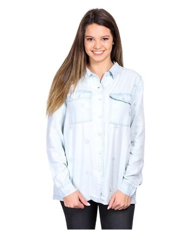 Judy Free Spirit Button Down Shirt - Light Blue - Front Light Blue