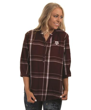 Texas A&M Plaid Tunic - Front Maroon/White