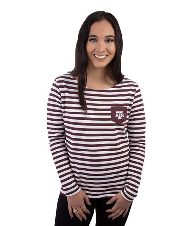 Texas A&M Aggies Elbow Patch Striped Top - Model - Front Maroon/White