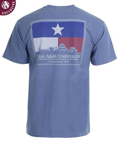 Texas A&M Aggies Texas Flag College Station Skyline T-Shirt Storm Blue