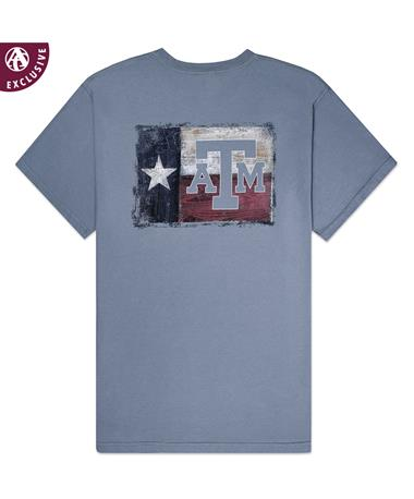 Texas A&M Aggie Painted Wood T-Shirt - Comfort Colors - Back Granite