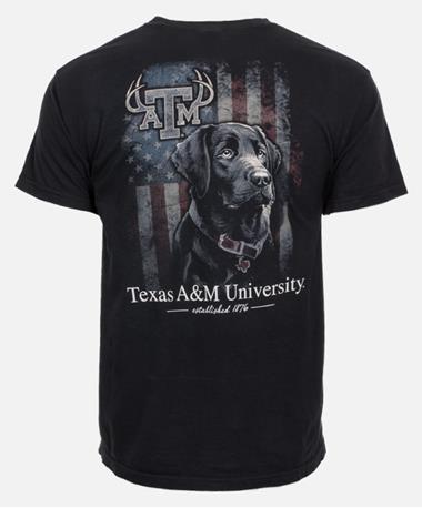 Texas A&M Black Lab Hunting T-Shirt - Back Black