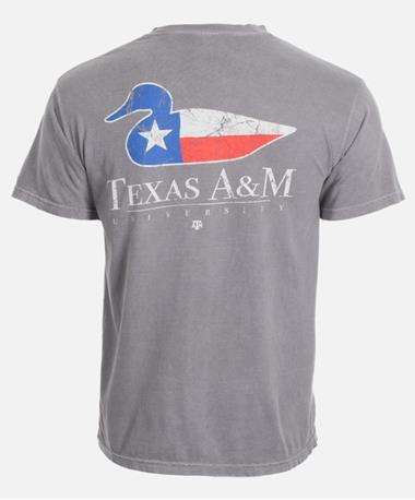 Texas A&M Aggie Duck T-Shirt Back Grey
