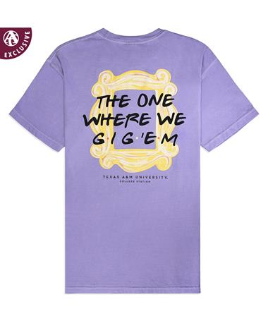 Texas A&M The One Where We Gig `Em T-Shirt - Back Violet