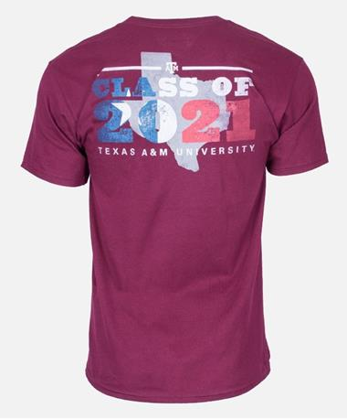 Texas A&M Aggie Class of 2021 T-Shirt Back Maroon