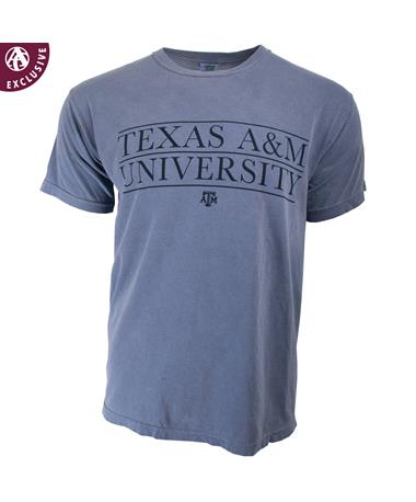 Texas A&M Lined Up Block Letters T-Shirt Blue Jean