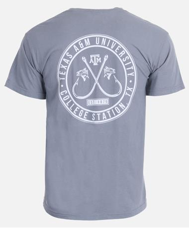 Texas A&M Two Fish Double Hook T-Shirt - Back Granite