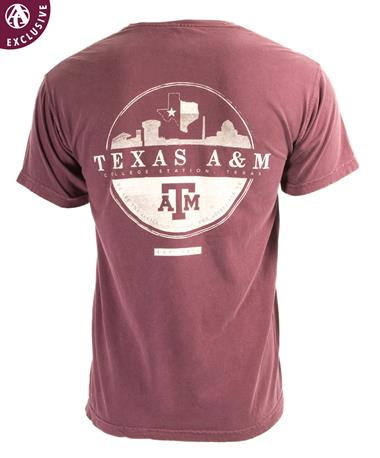 Texas A&M Skyline Circle Design T-Shirt Maroon
