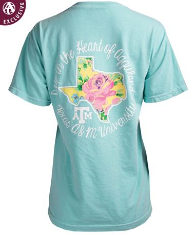 Texas A&M Deep In The Heart of Aggieland T-Shirt Chalky Mint
