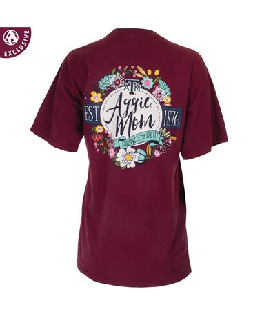 Texas A&M Aggie Mom Raisin` `Em Right Floral T-Shirt - Maroon - Back Maroon