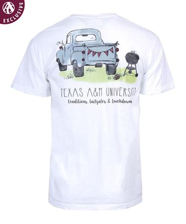 Texas A&M Aggie Tailgate Truck T-Shirt White