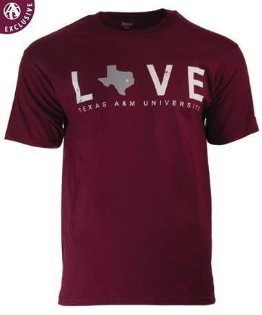 Texas A&M Love Star Over Aggieland T-Shirt Maroon