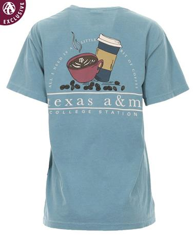 Texas A&M Bit of Coffee Bean T-Shirt Ice Blue