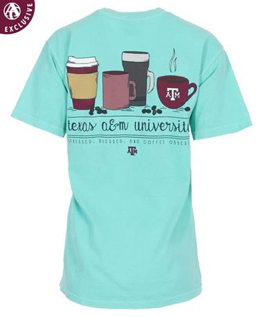 Texas A&M Stress Bless Coffee Obsessed T-Shirt Chalky Mint