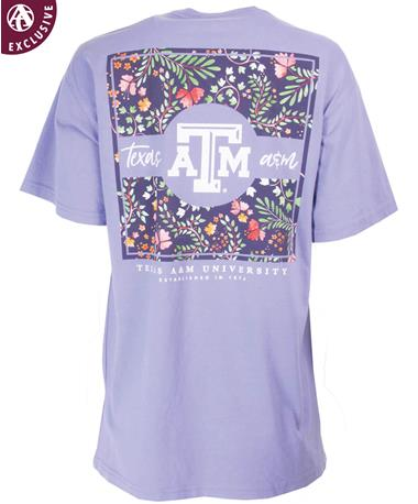 Texas A&M Square Floral Pattern T-Shirt Lavender