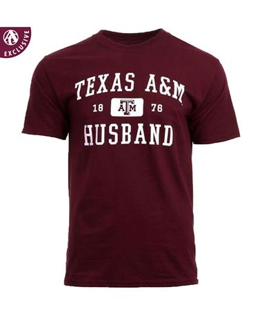 Texas A&M Aggie Husband T-Shirt - Front Maroon