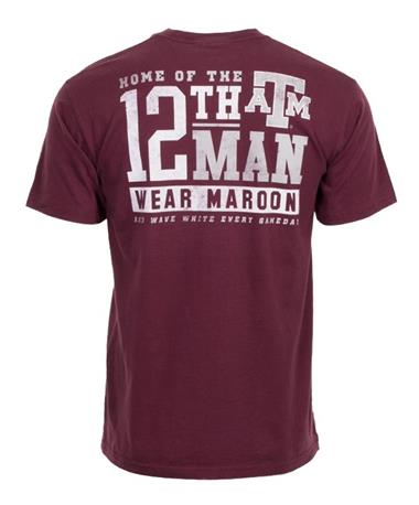 Texas A&M 12th Man Wear Maroon T-Shirt - Back Maroon