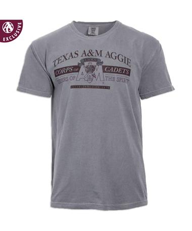 Texas A&M Aggie Corps Of Cadets T-Shirt - Front Grey