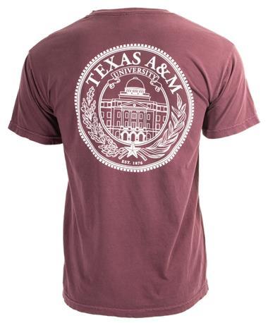 Texas A&M Aggie Seal Logo T-Shirt - Maroon - Back Maroon