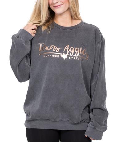 Texas A&M Rose Gold Script Sweatshirt Pepper