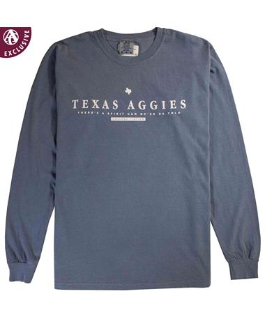 Texas A&M Spirit Blue Long Sleeve T-Shirt Blue Jean