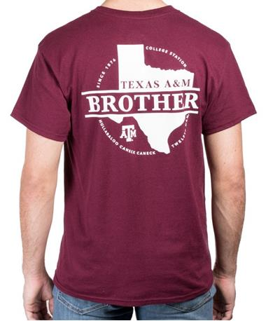 Texas A&M Aggie Proud Brother T-Shirt Back Maroon