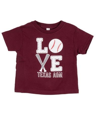 Texas A&M Aggies Baseball Love Short Sleeve Tee Maroon