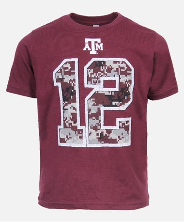 Youth Texas A&M 12th Man Camo T-Shirt Maroon