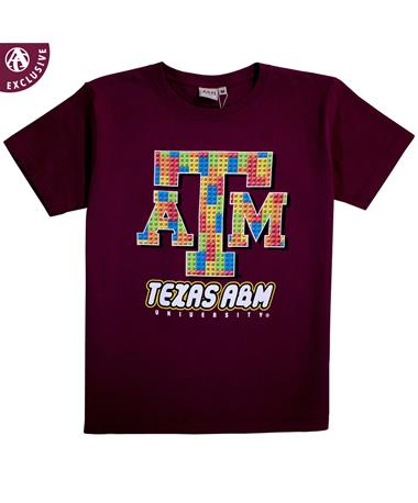 Texas A&M Two Great Things Youth Short Sleeve T-Shirt - Front Maroon
