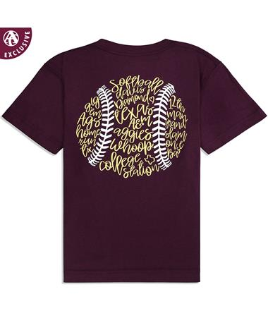 Texas A&M Youth Softball Outline Short Sleeve T-Shirt - Back Maroon