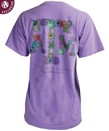 Texas A&M Drawn Succulent Cactus T-Shirt Violet