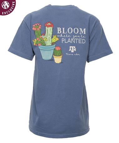 Texas A&M Bloom Planted Cactus T-Shirt Blue Jean