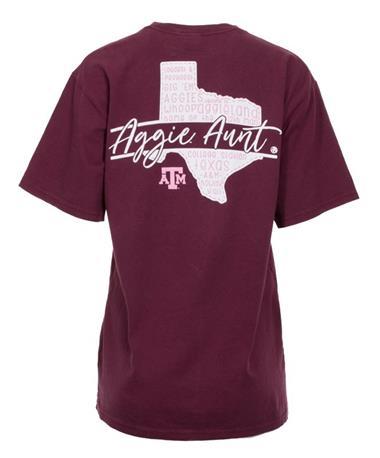 Texas A&M Aggie Aunt Script T-Shirt - Back Maroon