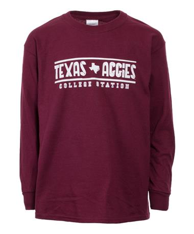 Texas A&M Maroon Long Sleeve Youth T-Shirt