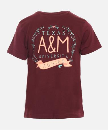 Youth Texas A&M Vine Heart Arrows T-Shirt - Back Maroon