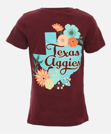 Youth Texas A&M State Floral T-Shirt - Back Maroon