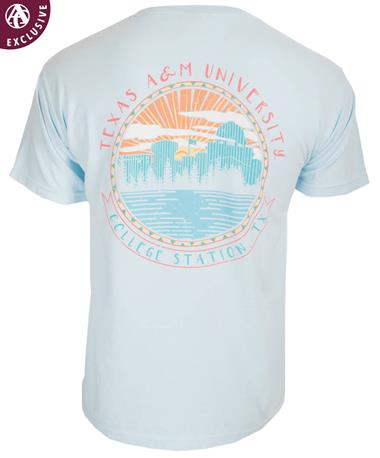 Texas A&M Aggie College Station Circle T-Shirt Chambray